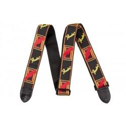 Correa FENDER Monogrammed Strap Black/Yellow/Red