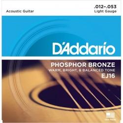 Cuerdas Acustica D´ADDARIO EJ-16 Phosphos Bronze (12-53)
