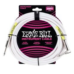 Cable ERNIE BALL Ultraflex PO6046 Jack-Jack Recto-Acodado SS Blanco 6m