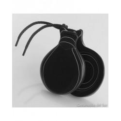 Castañuelas DEL SUR Profesional Fibra Negra Veteada Blanca Nº3 Doble Caja Foto: \192