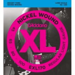 Cuerdas Bajo DADDARIO EXL170 XL Nickel Wound Light (45-100) Foto: C:QuerryFotos Web\Juego de Cuerdas DADDARIO EXL-170 XL Bajo 45