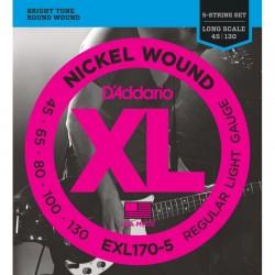 Cuerdas Bajo D´ADDARIO EXL170-5 - XL Regular Light (45-130) Foto: C:QuerryFotos Web\Cuerdas Bajo DADDARIO EXL170-5 - XL Regular