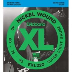Cuerdas Bajo D´ADDARIO EXL220 40/95 Nickel Wound Super Light Foto: C:QuerryFotos Web\Juego Bajo DADDARIO EXL-220 40-95 Nickel Wo