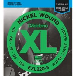 Cuerdas Bajo D´ADDARIO EXL220-5 - XL Super Light (40-125) Foto: C:QuerryFotos Web\Cuerdas Bajo DADDARIO EXL220-5 - XL Super Ligh