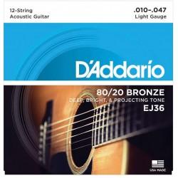 Cuerdas Acustica DADDARIO EJ-36 Bronze 12 cuerdas (10-47) Foto: C:QuerryFotos Web\Cuerdas Acustica DADDARIO EJ-36 Bronze 12 cuer